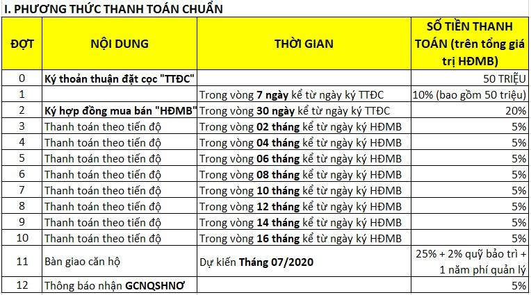 Phương thức thanh toán chuẩn căn hộ Safira Khang Điền
