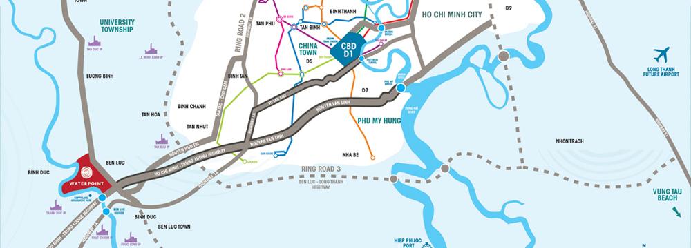 Vị trí khu đô thị Waterpoint Nam Long