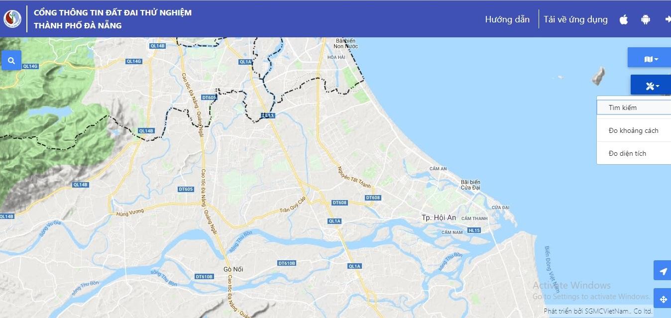 Công cụ đo khoảng cách đo diện tích trên cổng thông tin đất đai thành phố Đà Nẵng