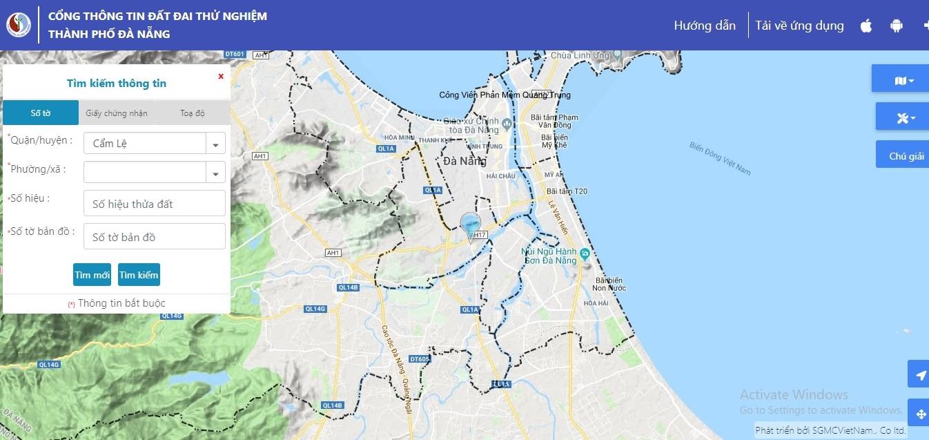 Phần tìm kiếm trên cổng thông thông tin đất đai thành phố Đà Nẵng