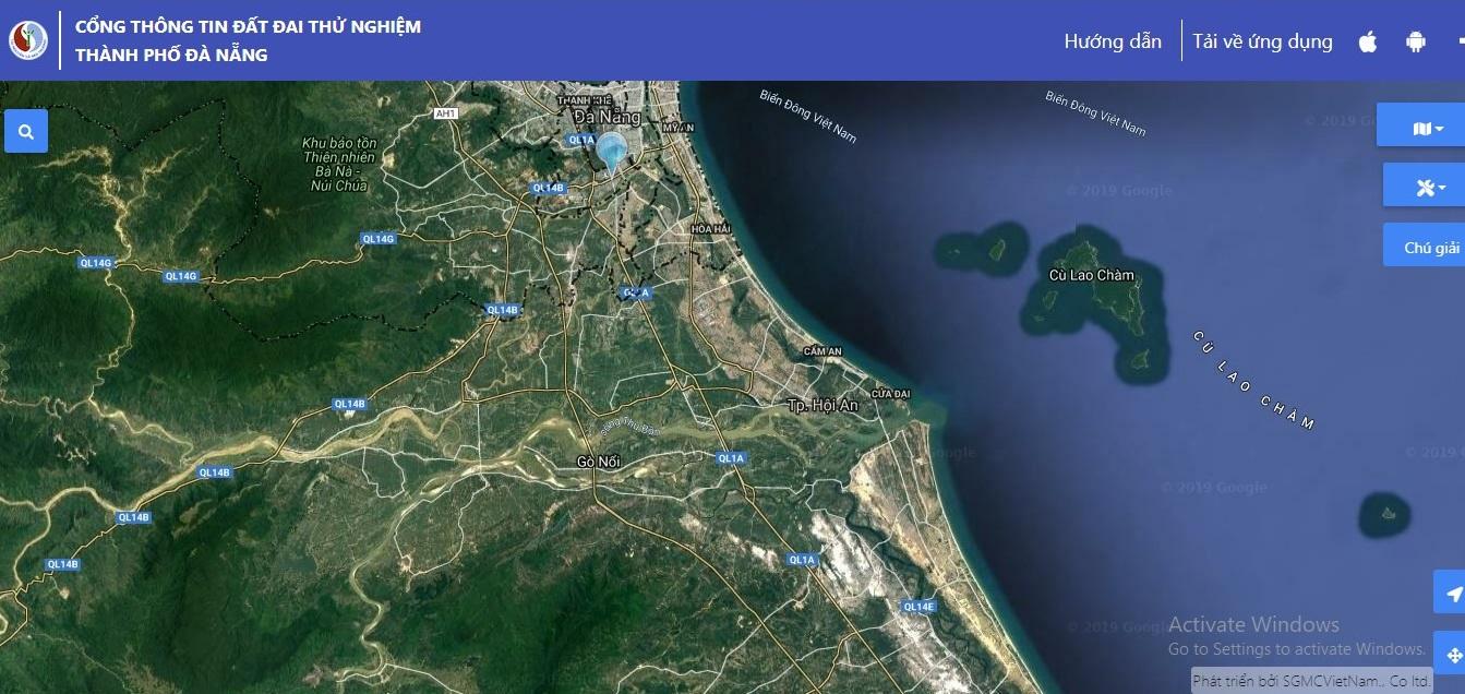 Nền vệ tinh trực quan trên cổng thông tin đất đai thành phố Đà Nẵng
