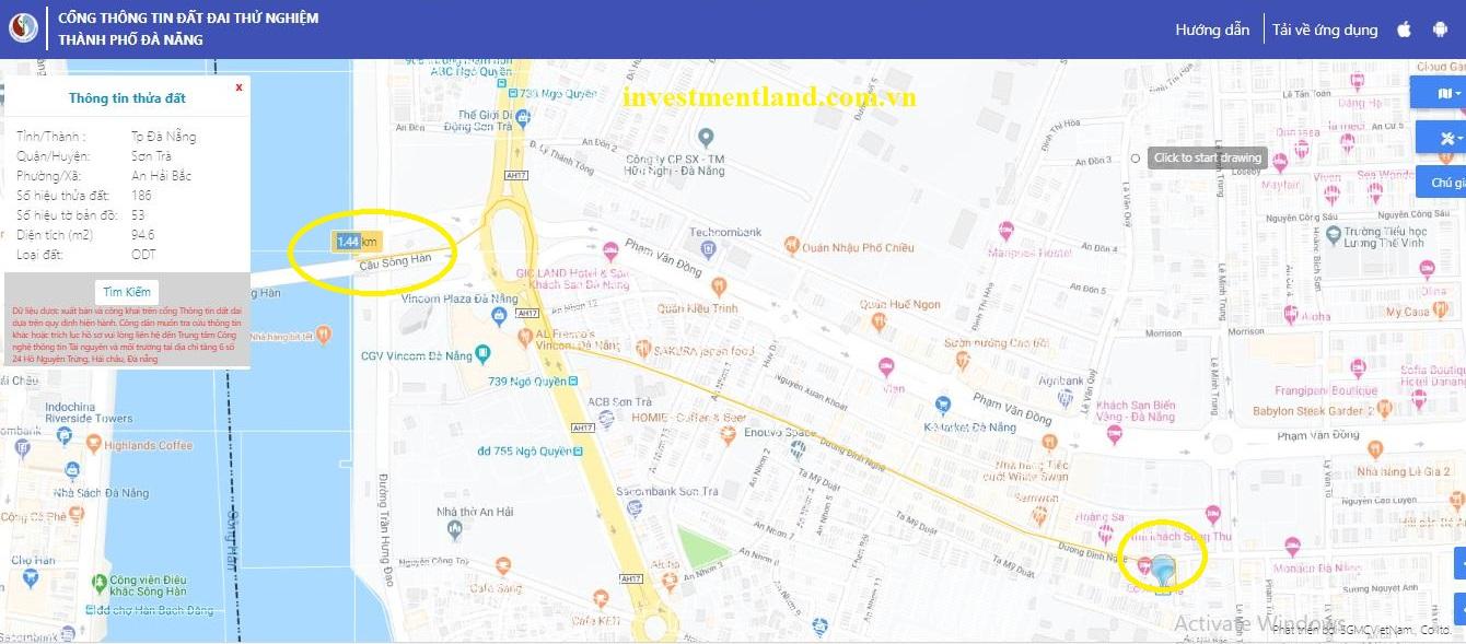 Đất đường Dương Đình Nghệ, phường An Hải Bắc, quận Sơn Trà, thành phố Đà Nẵng. Khoảng cách tới cầu sông Hàn chỉ 1,44 km