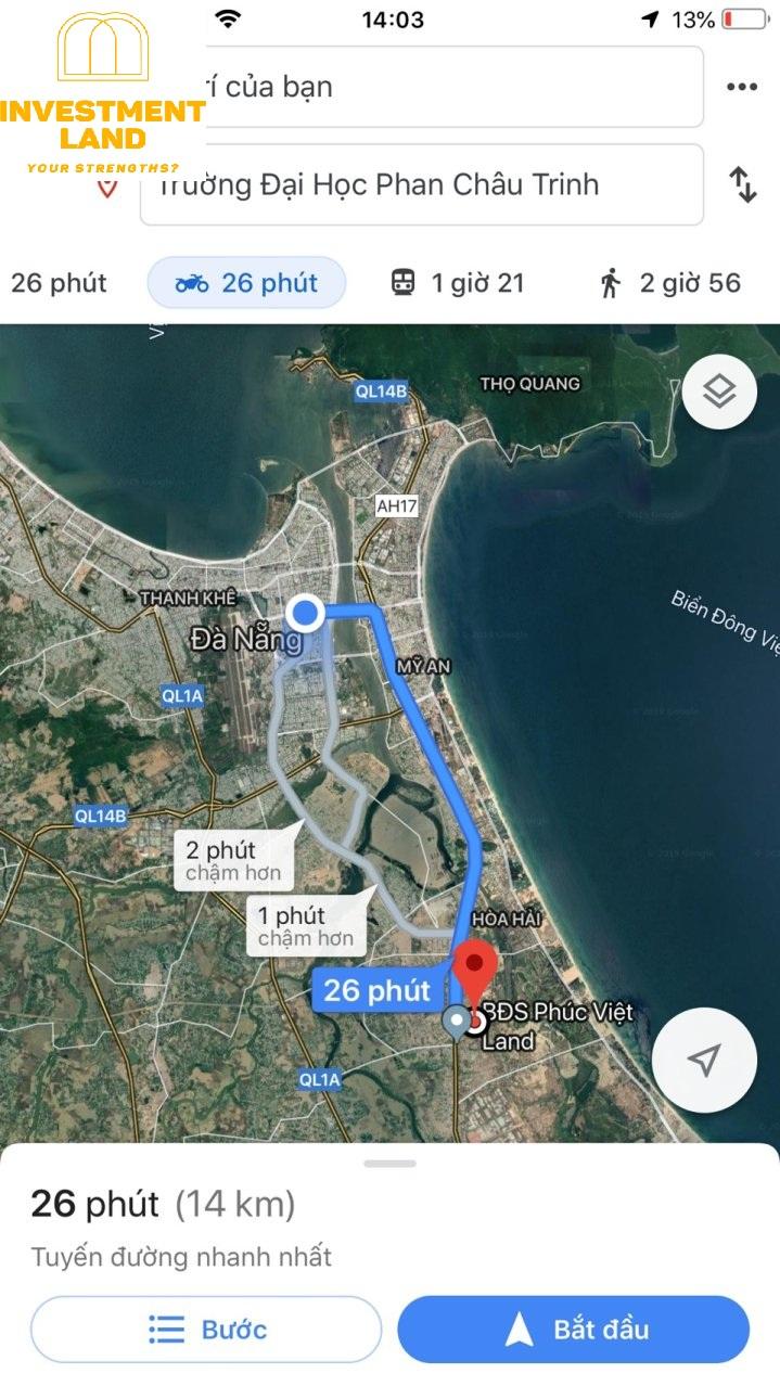 Khoảng cách từ đất khu dân cư đại học Phan Châu Trinh, Phường Điện Ngọc, Điện Bàn, Quảng Nam đến công ty Investment Land