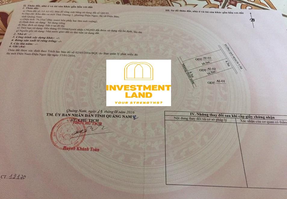 Giấy chứng nhận QSDĐ đất khu dân cư đại học Phan Châu Trinh, Phường Điện Ngọc, Điện Bàn, Quảng Nam