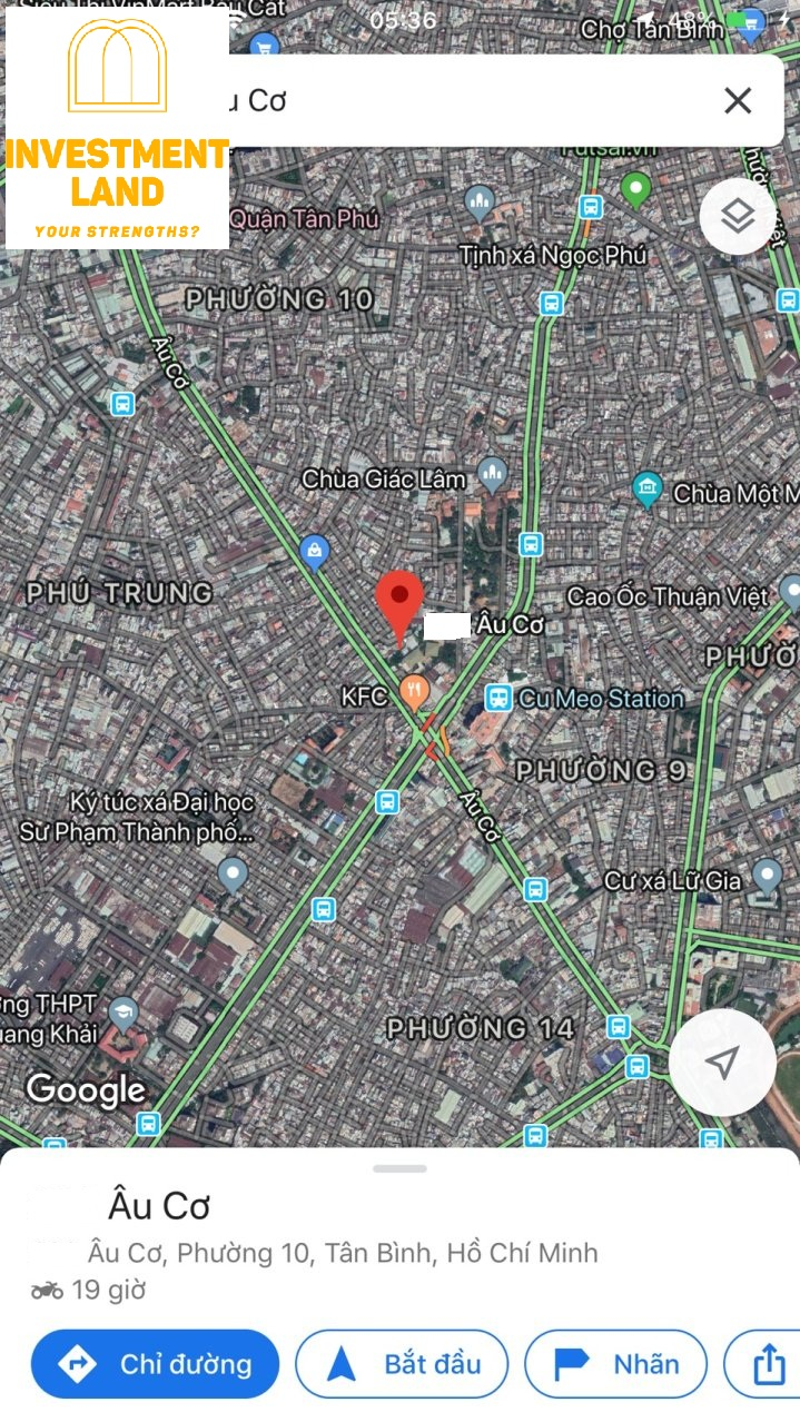 Vị trí nhà mặt tiền đường Âu Cơ phường 10 Tân Bình Tphcm