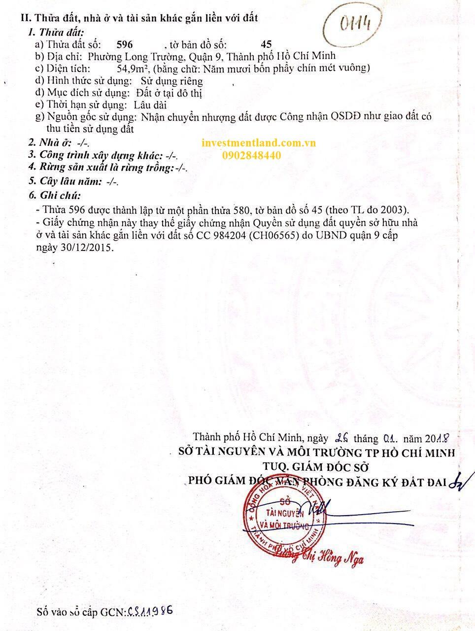 Sổ hồng bán đất nền dự án Việt Nhân, đường số 1 cầu Ông Nhiêu, Phường Long Trường, Quận 9