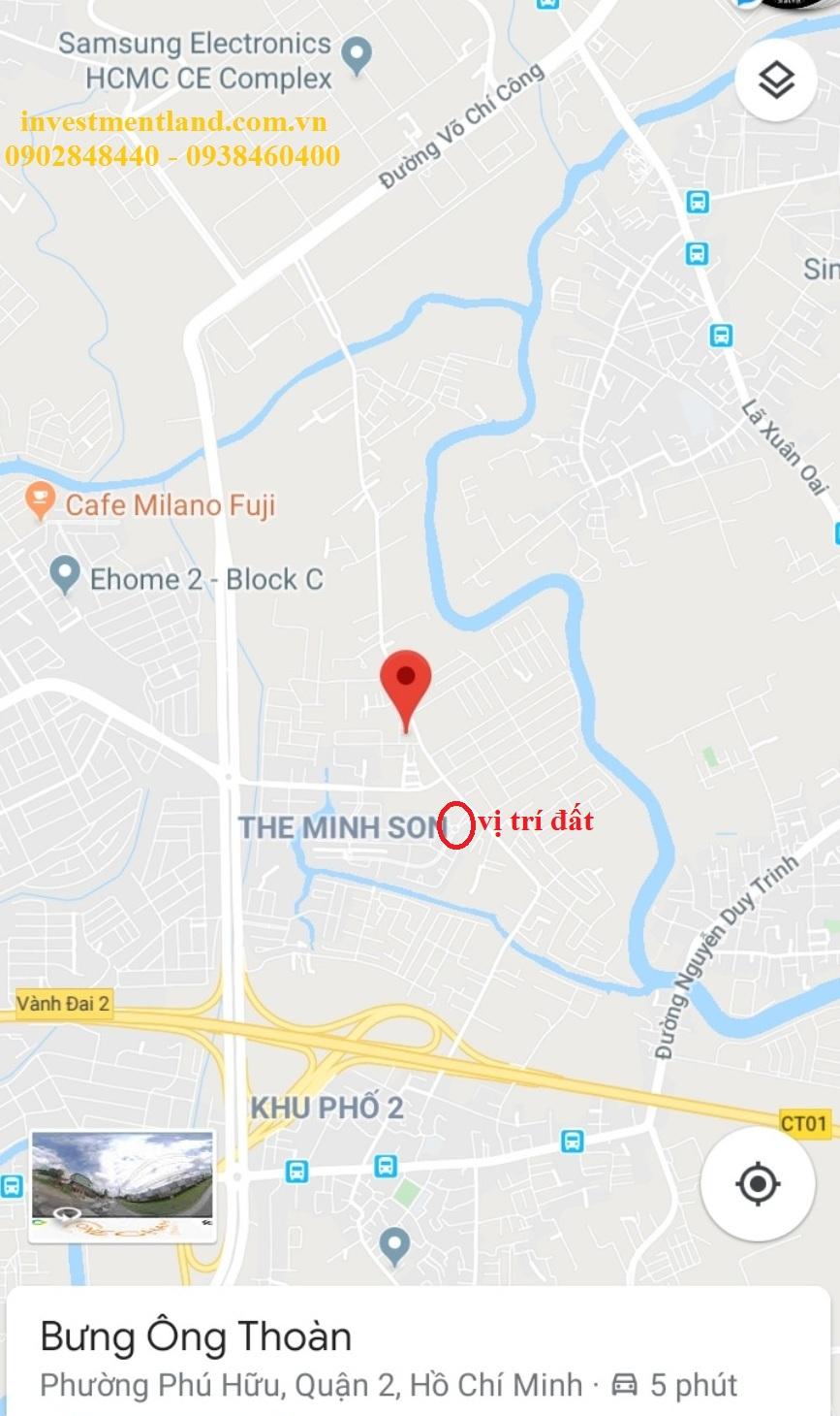 Vị trí đất tại đường Bưng Ông Thoàn, phường Phú Hữu, Quận 9, Tp.HCM