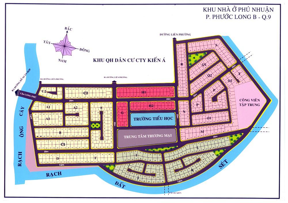 Bản đồ phân lô kdc Phú Nhuận phường Phước Long B Quận 9